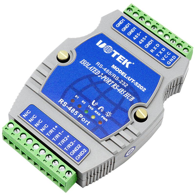 宇泰UT-5202 485集线器工业级光电隔离型一分二rs485分配器232转两路485转换器485通讯模块防雷防浪涌抗干扰