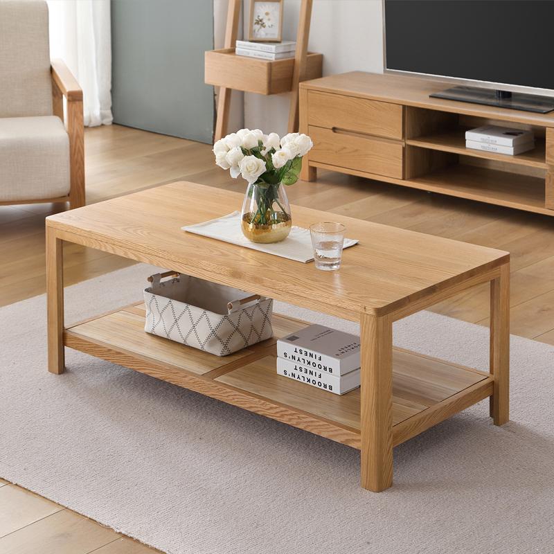 原始原素全实木茶几北欧原木简约现代橡木咖啡桌环保客厅家具茶桌