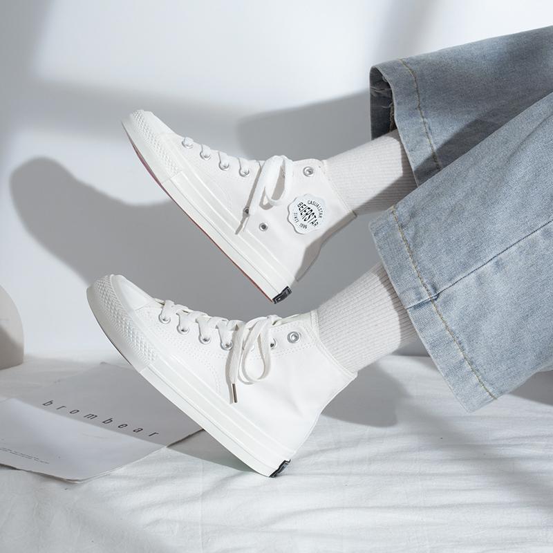 新款潮鞋韩版秋鞋高帮鞋 2019 品紫外线变色帆布鞋女鞋子光感秋季