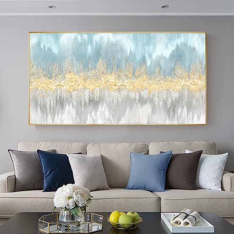 簡約現代客廳沙發背景墻裝飾畫橫版臥室床頭壁畫抽象輕奢金箔掛畫