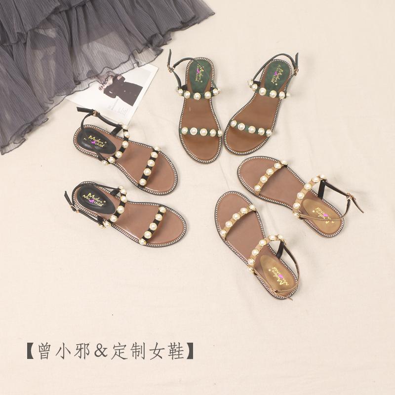 凉鞋女仙女风2019新款珍珠女士平底百搭罗马学生韩版时尚夏季女鞋