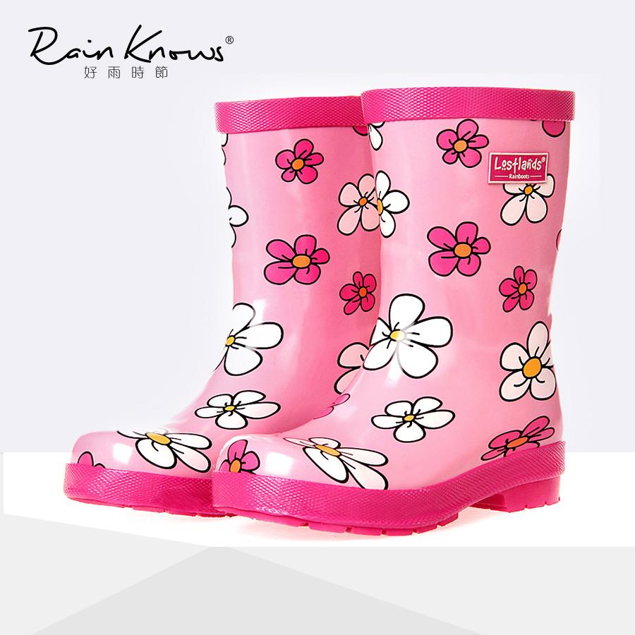 好雨时节 卡通花朵儿童雨鞋女童女孩公主雨靴防水防滑耐磨橡胶靴