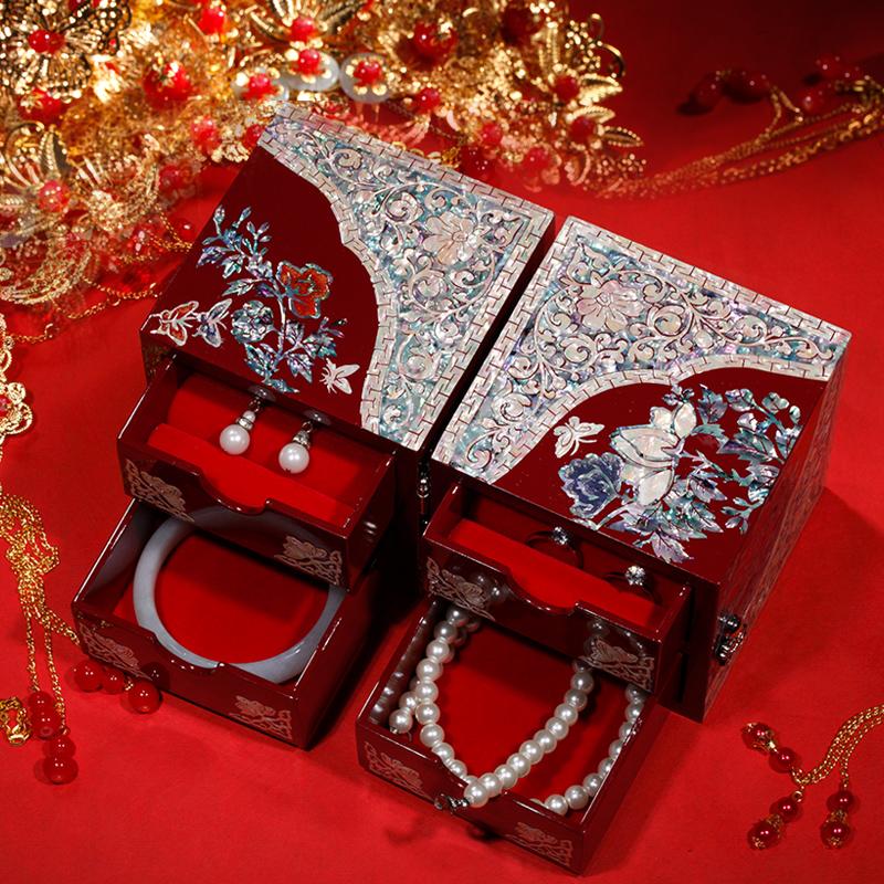 锦贝传说螺钿漆器结婚礼物首饰盒木质公主欧式耳环项链饰品收纳盒