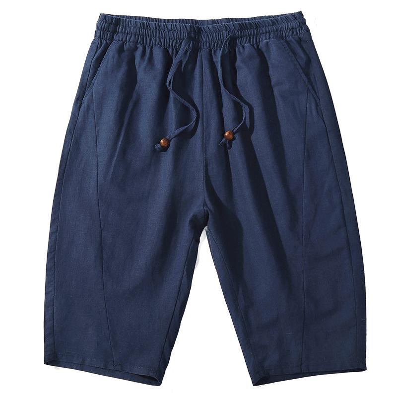 比菲力2019夏季新款七分裤男松紧腰中国风宽松休闲棉麻哈伦裤卫裤