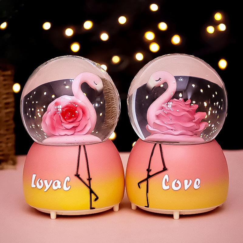 火烈鸟公主音乐盒八音盒水晶球雪花旋转送女生男孩儿童旋转小夜灯