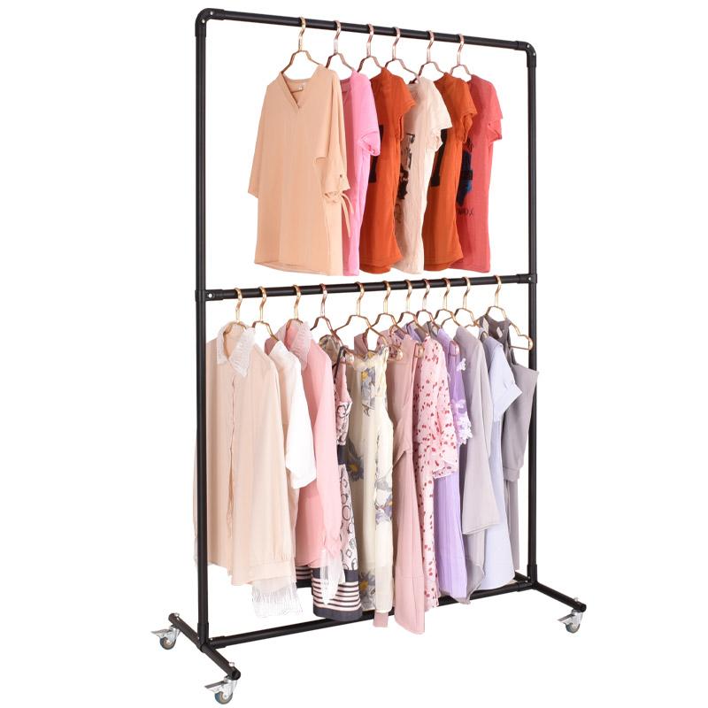 双层衣架服装展示架落地式童装挂衣架中岛架服装龙门架面料布料架