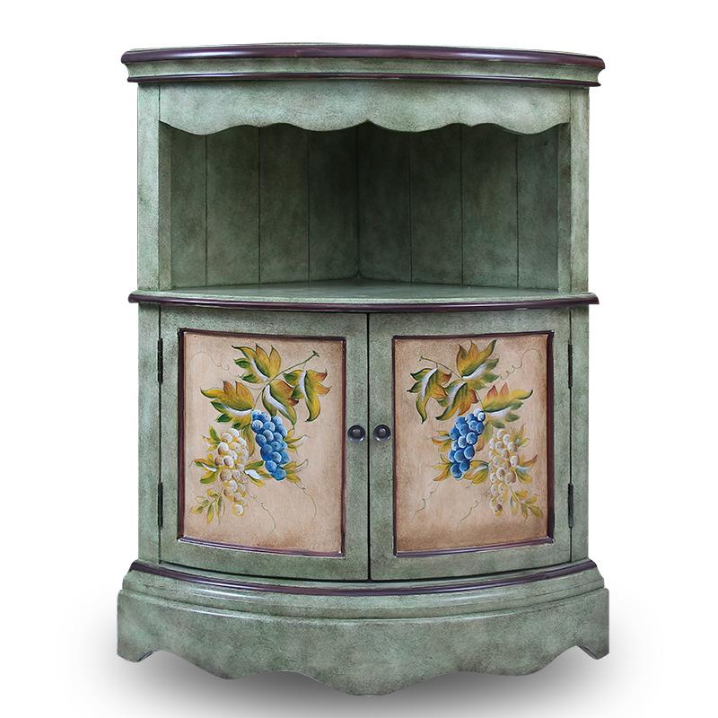 柏丁堡家具美式彩绘客厅走廊墙角柜欧式间厅边角实木三角玄关酒柜