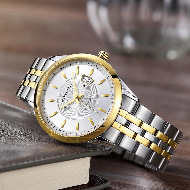 罗西尼正品手表男时尚日历防水石英表钢带男士手表514631