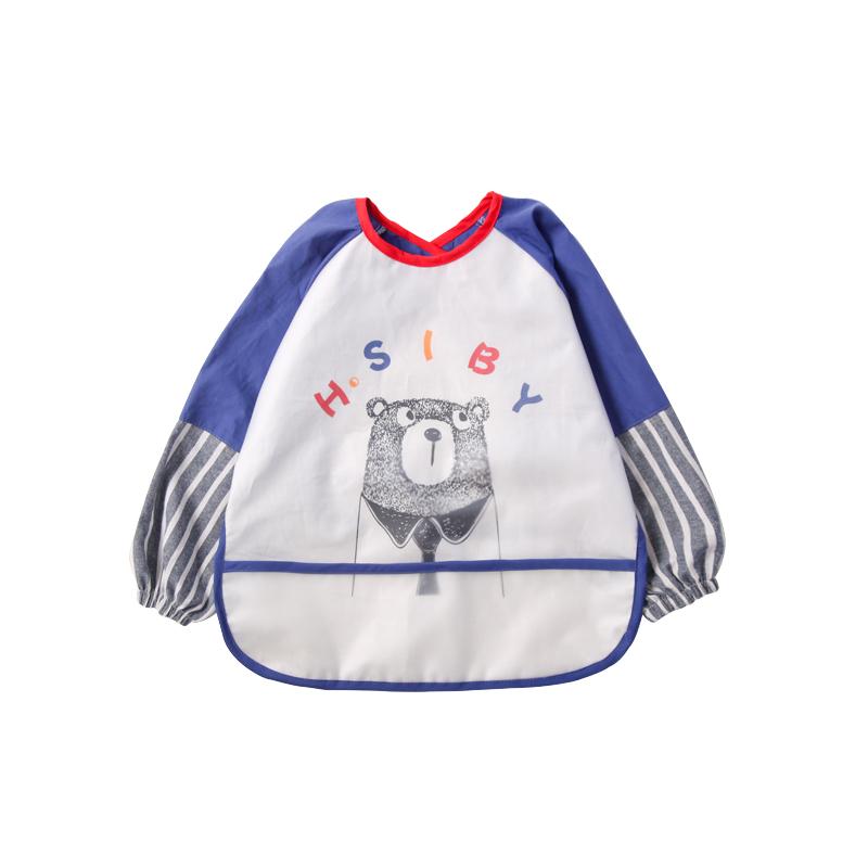 宝宝吃饭衣罩衣防水纯棉反穿衣男女童长袖吃饭衣儿童画画围裙冬季