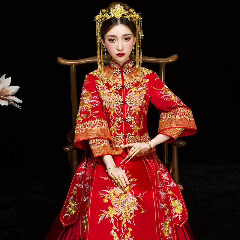秀禾服新娘2020新款夏龙凤褂结婚中式婚纱礼服凤冠霞帔古装敬酒服