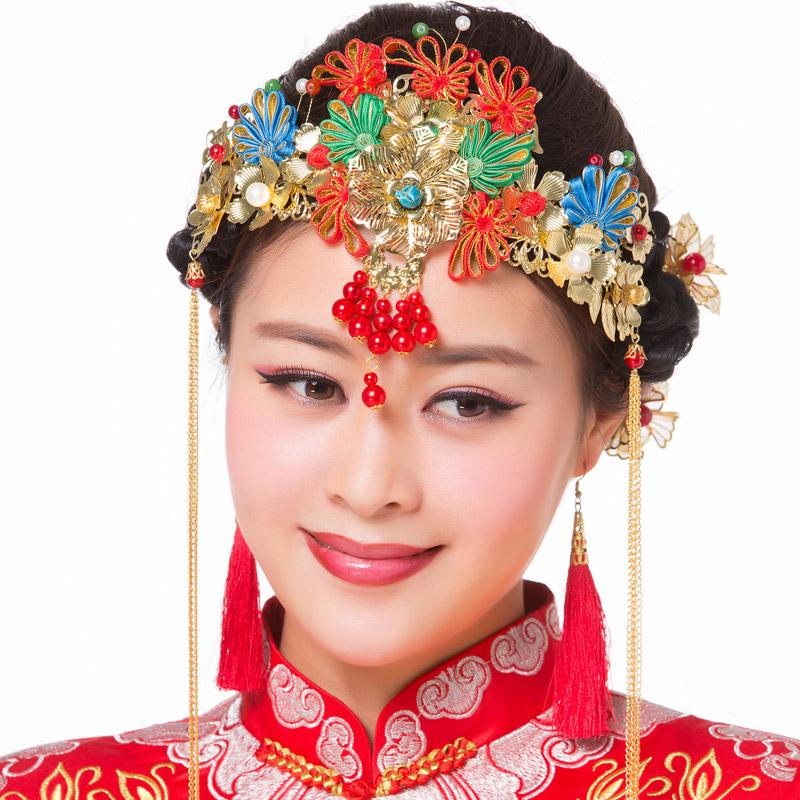 新娘中式红色金色古装头饰额饰新娘凤冠旗袍秀禾服龙凤褂头花饰品