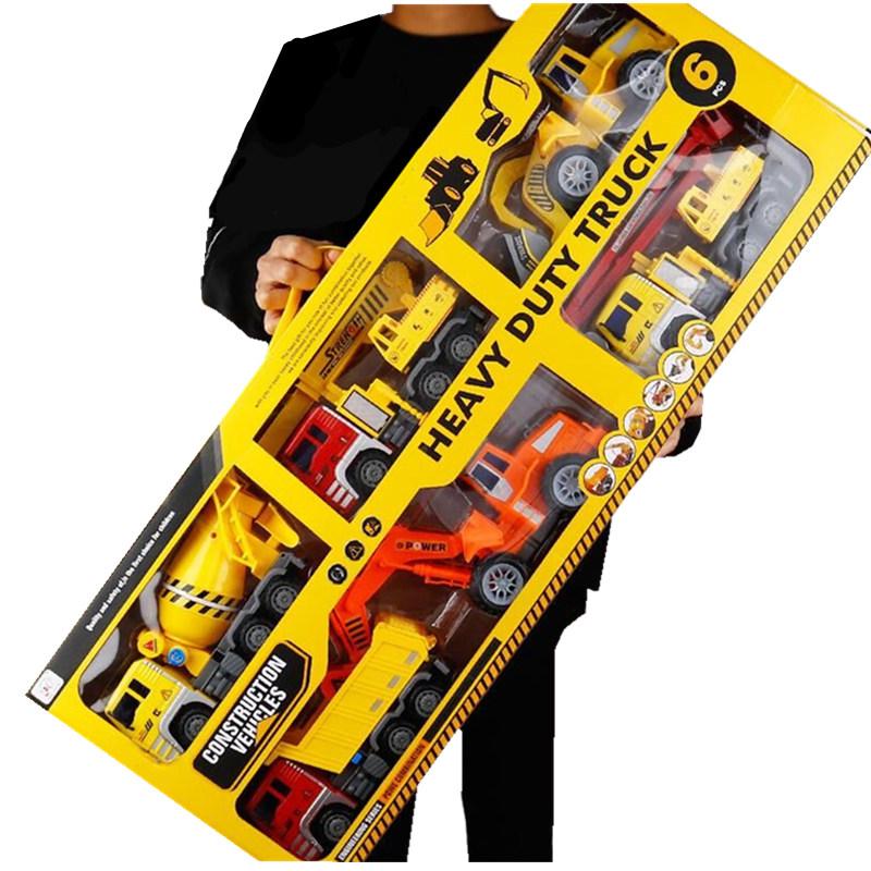 大号惯性工程车套装挖掘机推土机吊车挖土搅拌车男孩汽车儿童玩具