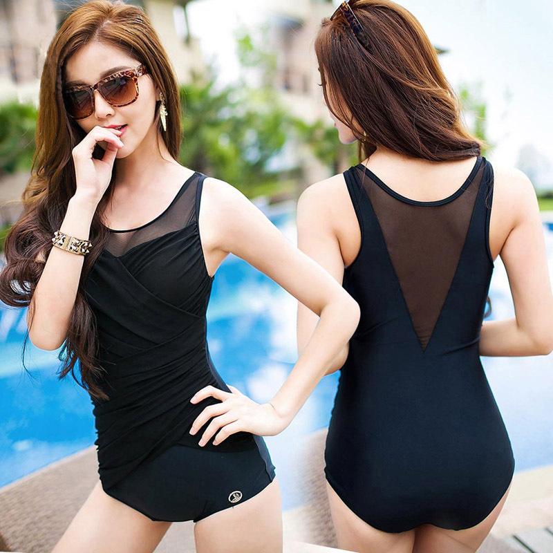 三奇泳衣女士連體平角保守運動黑色顯瘦遮肚性感露背聚攏溫泉泳裝