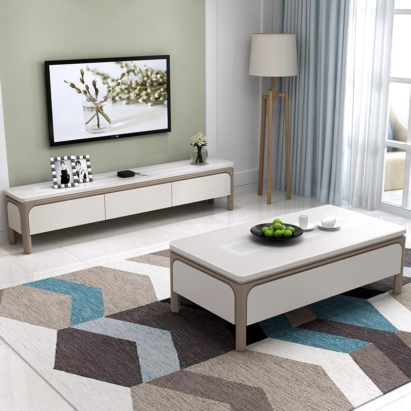 現代簡約茶几電視櫃組合套裝北歐小戶型電視機櫃客廳傢俱地櫃矮櫃