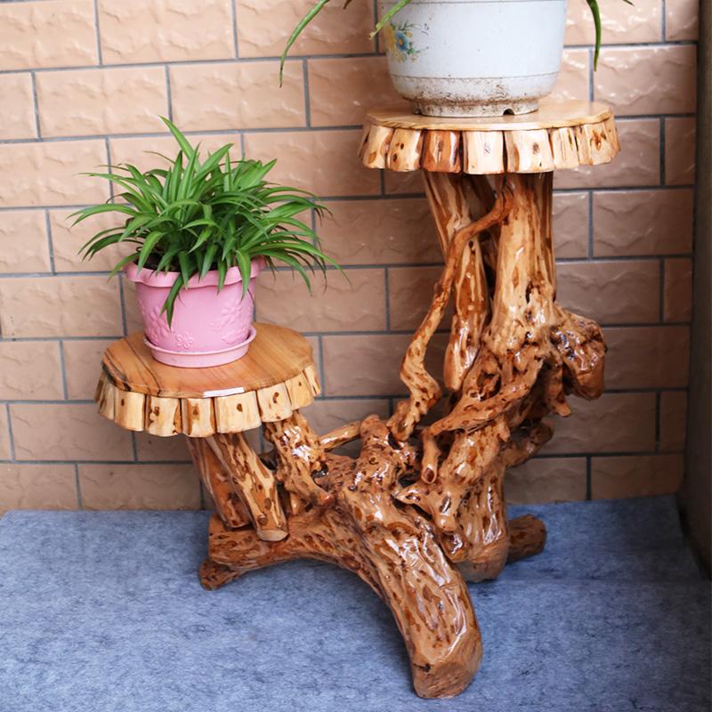 双层杜鹃根雕花架盆景架树根底座实木客厅花架盆景架摆件凳子