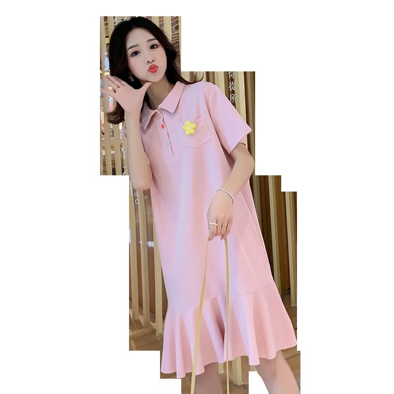 孕妇装连衣裙夏装网红洋气潮辣妈长款个性外出时尚款2020夏天裙子
