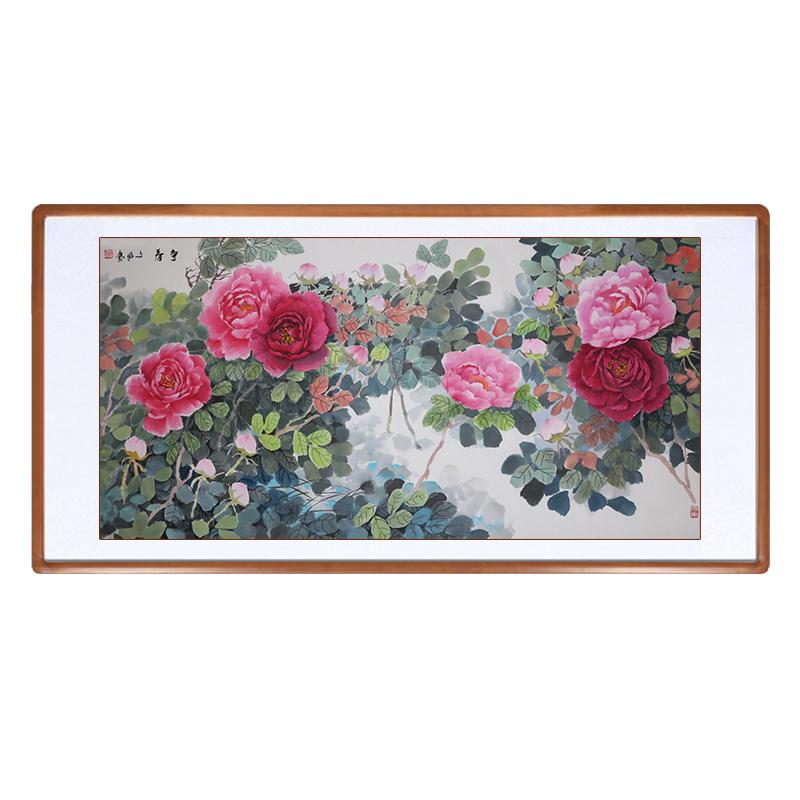 福蘊堂純手繪國畫牡丹花鳥客廳沙發裝飾畫花開富貴風水招財裝飾畫