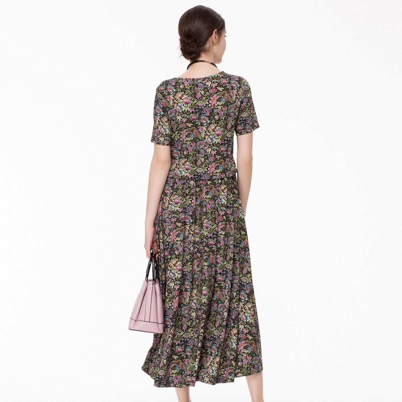 MORELINE沐兰女装夏新款气质修身显瘦短袖印花中长款高端连衣裙