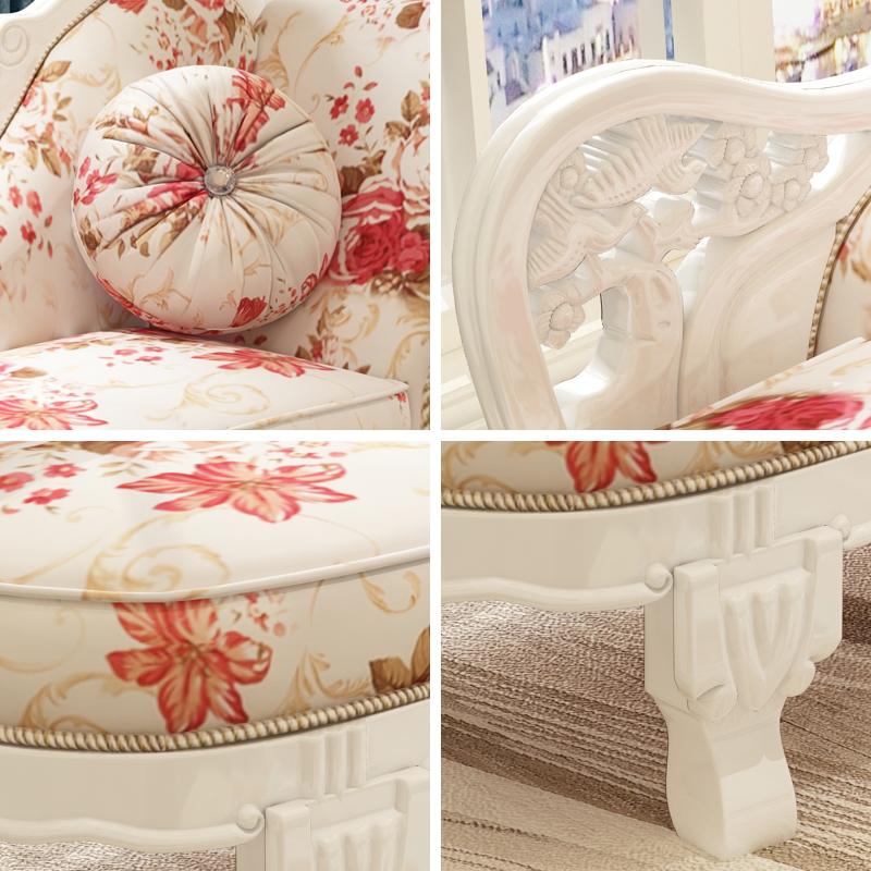 贵妃躺椅实木美人榻欧式小户型沙发床卧室太妃椅简约布艺单人塌