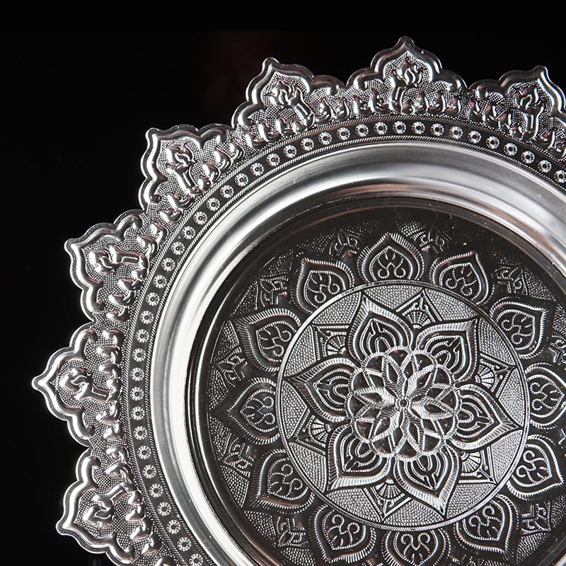 泰国高脚果盘干水果盘 创意盘子装饰摆件 圆形餐具 佛具供盘