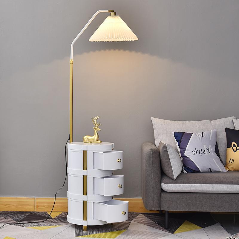风客厅茶几卧室床头灯轻奢百褶罩双层抽屉立式台灯 ins 北欧落地灯