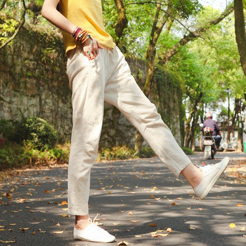 棉麻裤子女2019新款亚麻休闲工装哈伦裤宽松九分女裤夏季薄款长裤