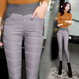 Down Waichuan plus velvet trousers female waist Slim was thin ladies new winter pants feet pencil pants trousers