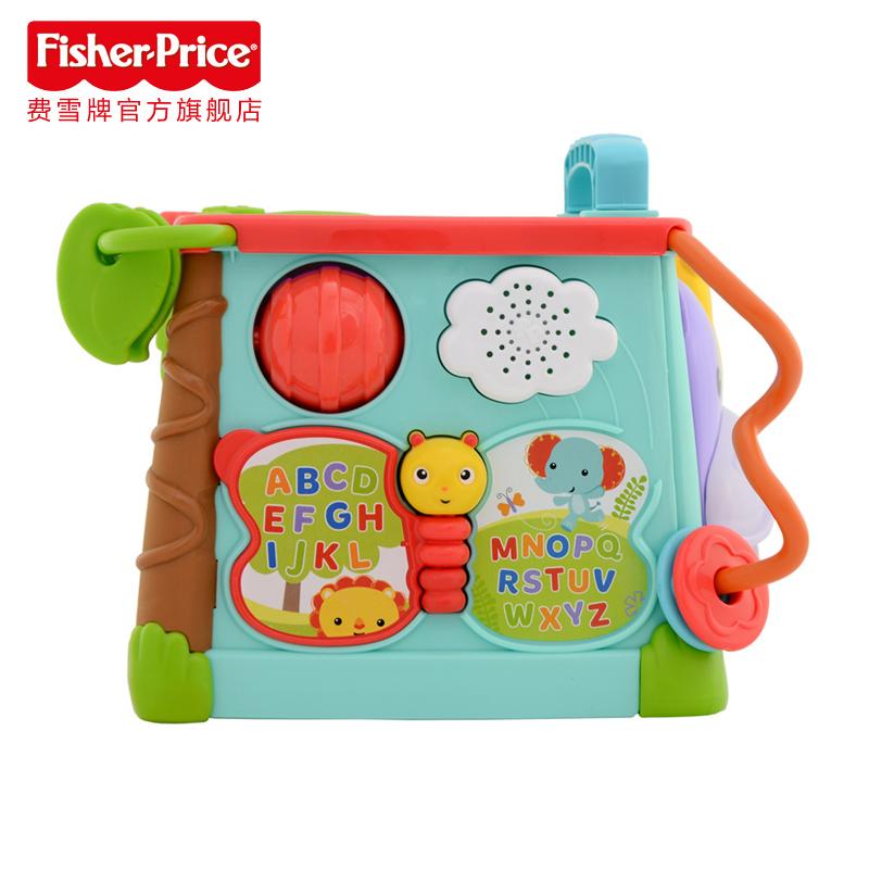 费雪探索学习六面盒CMY28 音乐形状配对认知双语早教益智儿童玩具