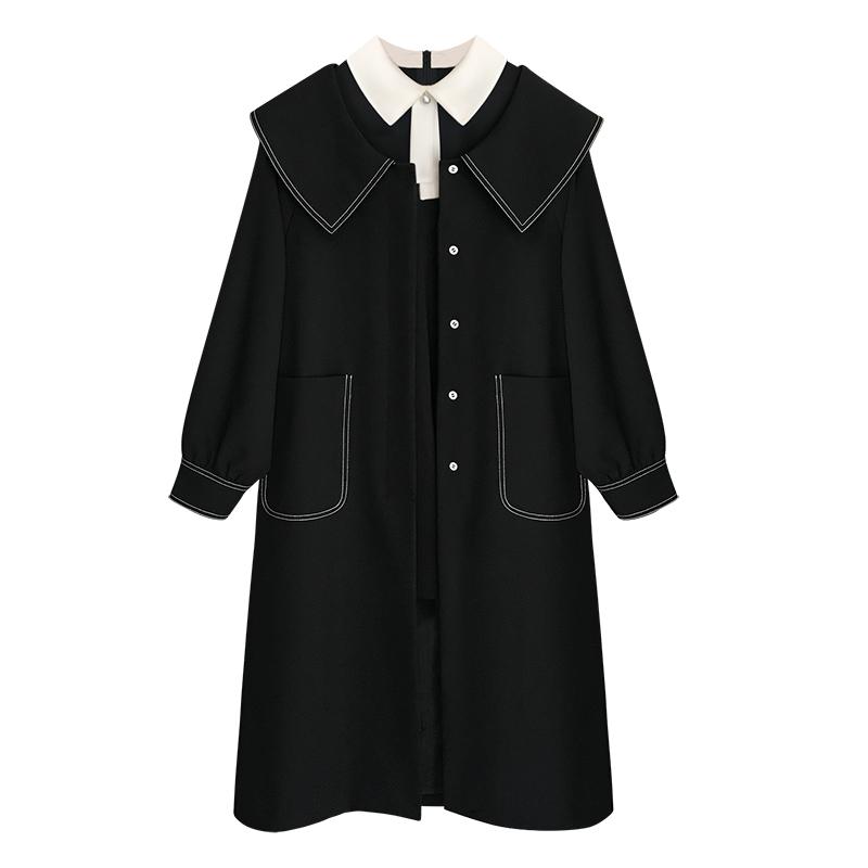 藍莓同款黑色風衣女中長款初秋新款外套大衣學院風潮 熱愛 親愛