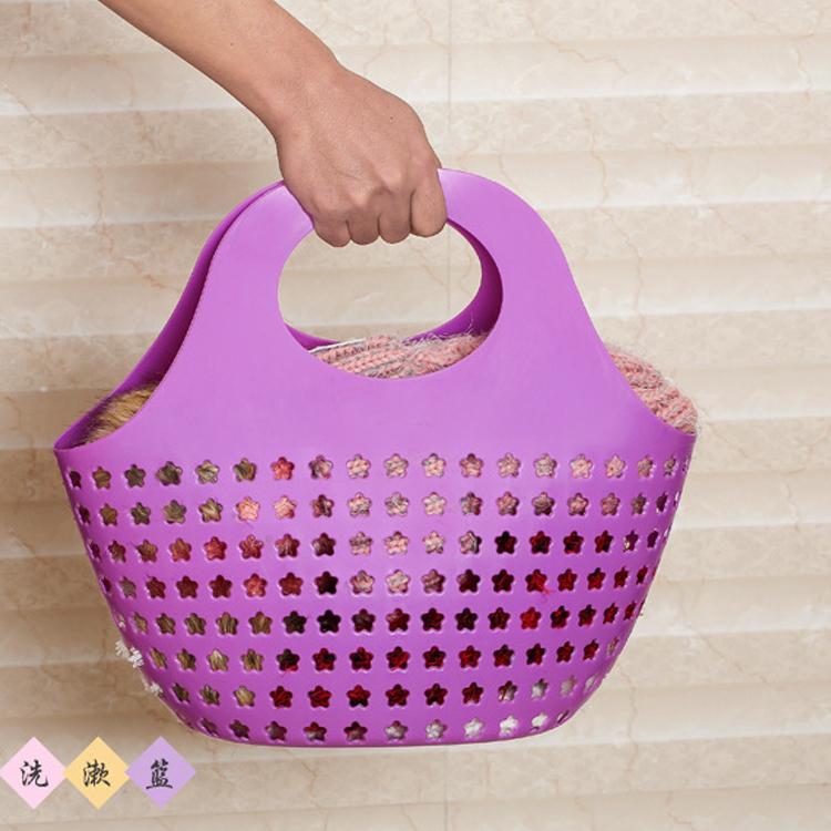 大小號塑料手提籃塑料買菜藍子軟鏤空洗澡藍收納籃購物籃子髒衣藍