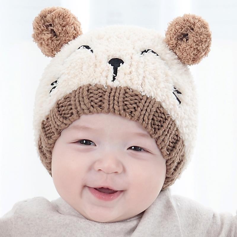 嬰兒帽子秋冬季0-3-6-12個月男寶寶毛線帽女童新生兒胎帽冬天1歲