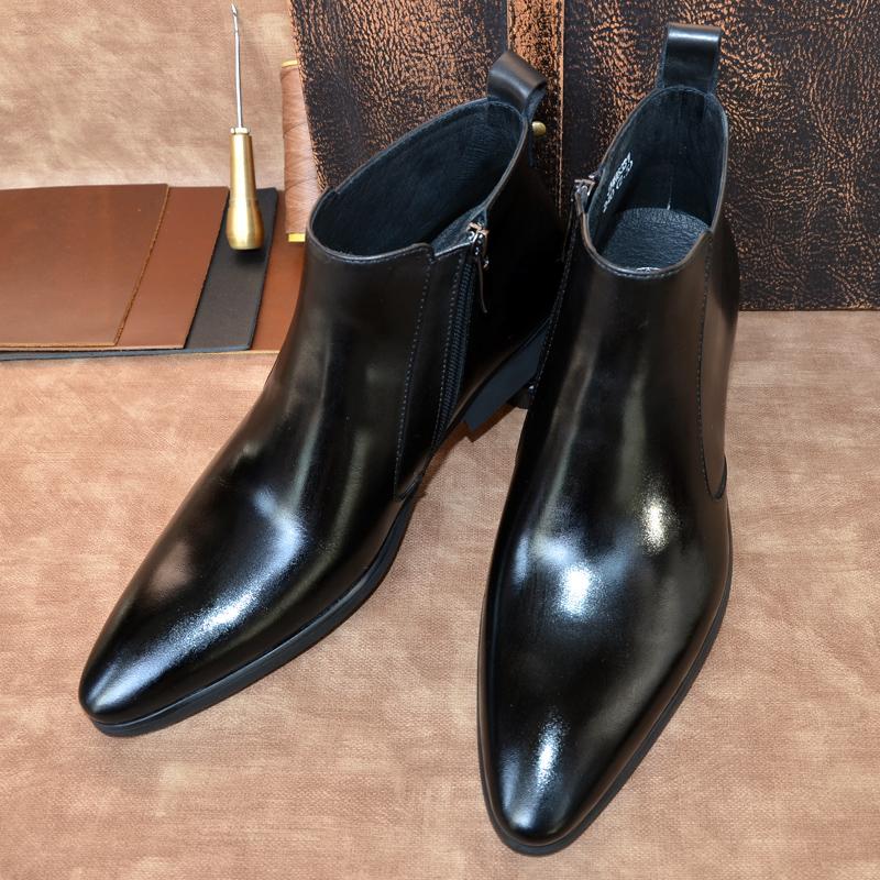 冬季短靴子男靴韩版皮靴男士尖头马丁靴真皮商务高帮皮鞋加绒潮流