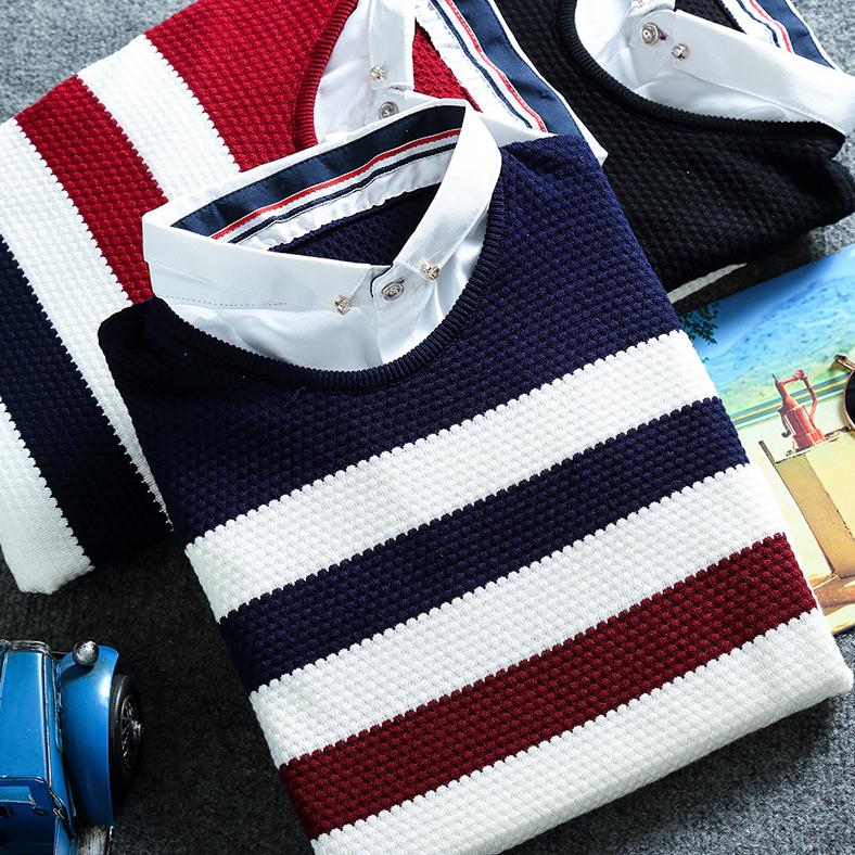 春秋季假两件针织衫男士韩版修身打底衫青少年休闲时尚衬衫领毛衣
