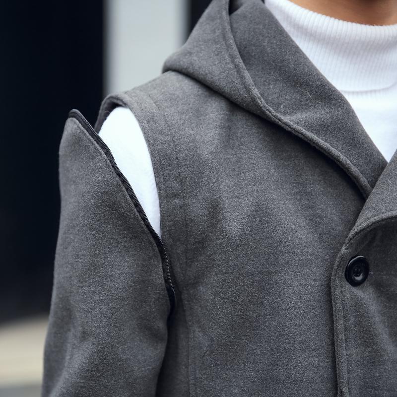 秋冬季韩版潮连帽中长款风衣一男一女情侣装呢子大衣加厚毛呢外套