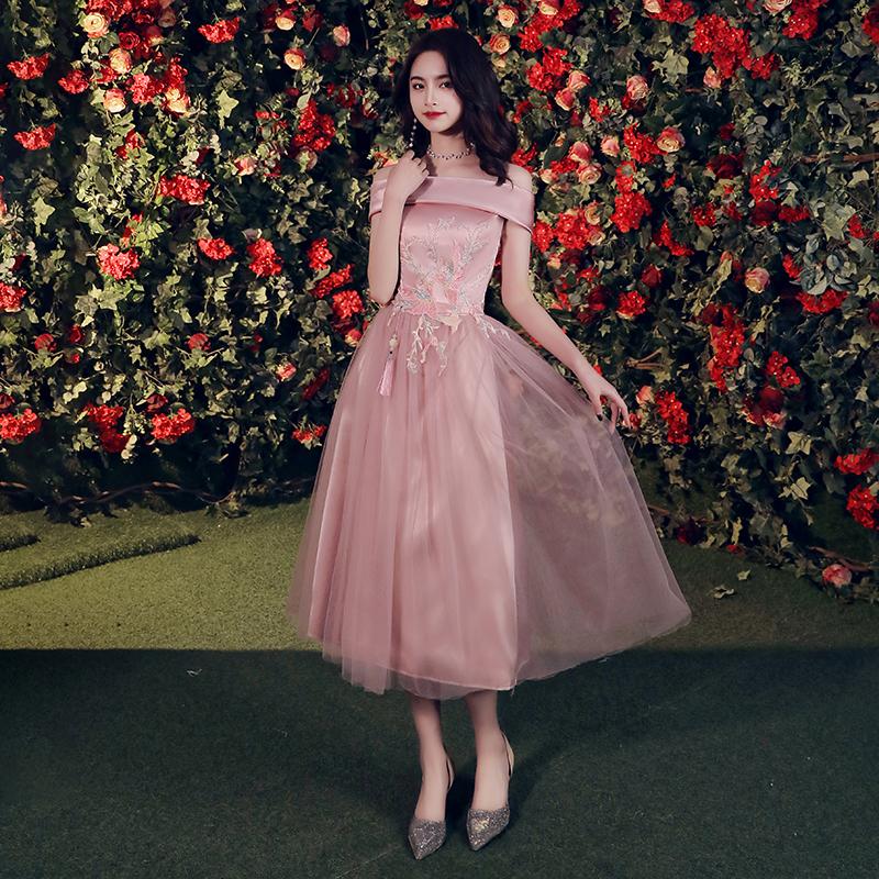 伴娘服2019夏季新款修身中式姐妹团伴娘裙豆沙色中国风演出礼服裙