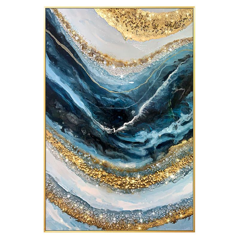 金箔手绘油画实物水晶石头轻奢抽象简约现代客厅玄关背景挂壁装饰