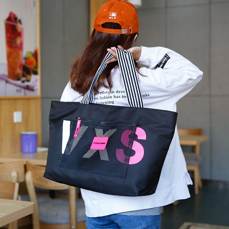 简约手提布包购物袋托特韩版 ins 单肩包大容量帆布女包中大包休闲