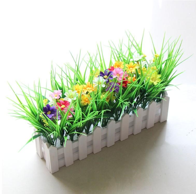 假花盆栽摆设田园小盆栽餐桌茶几花盆仿真花艺木栅栏塑料