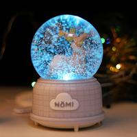糯米小物水晶球音乐盒纪念发光礼物生日女生特别自动雪花八音盒