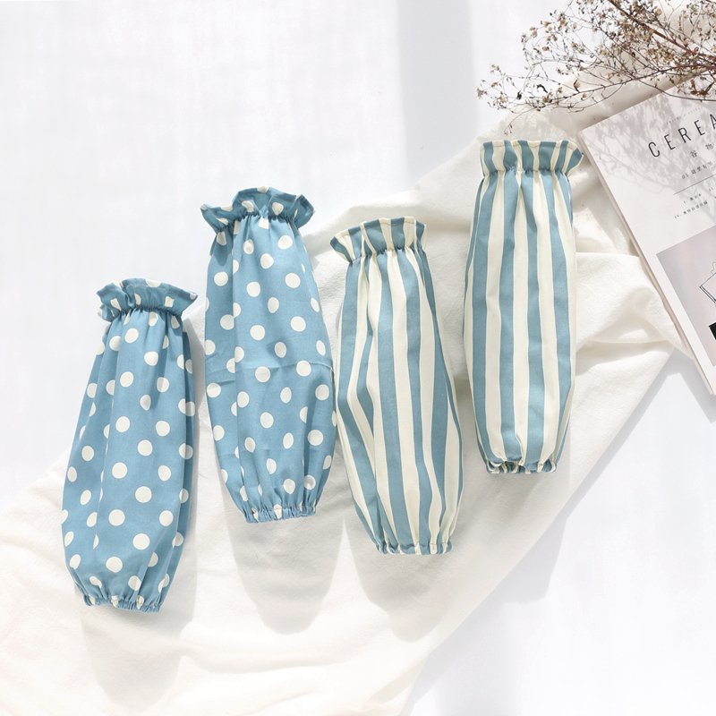 日式棉麻麻布艺长款袖头家用清洁办公防污袖套女厨房护袖两件文艺