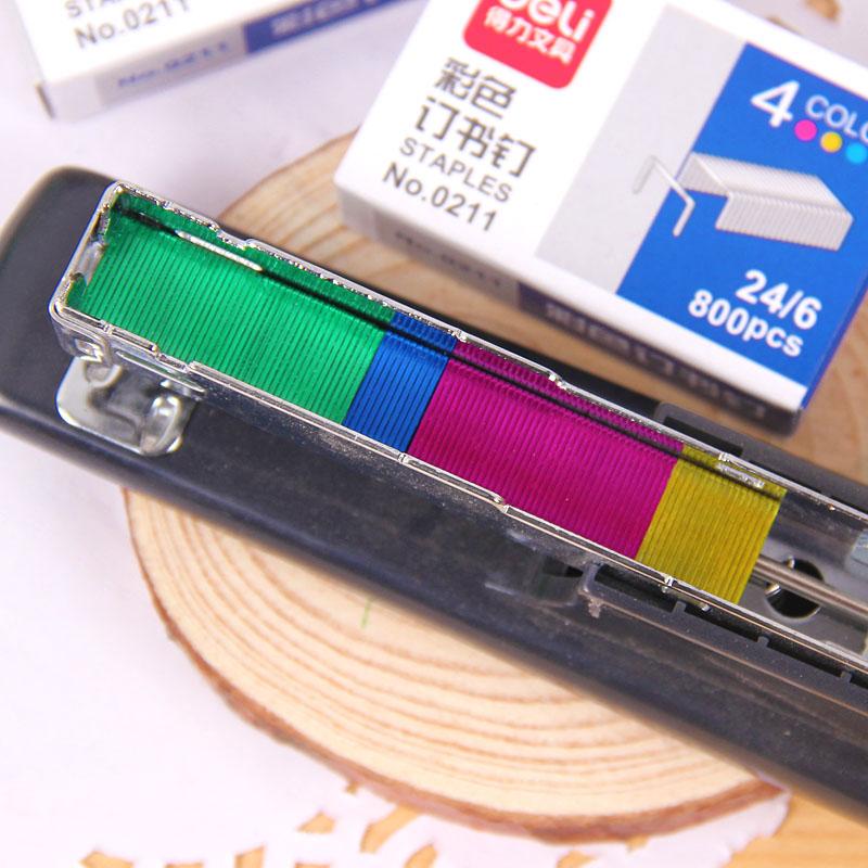得力彩色12号订书钉 24/6钉书针 文件/试卷/作业装订文具 800枚入