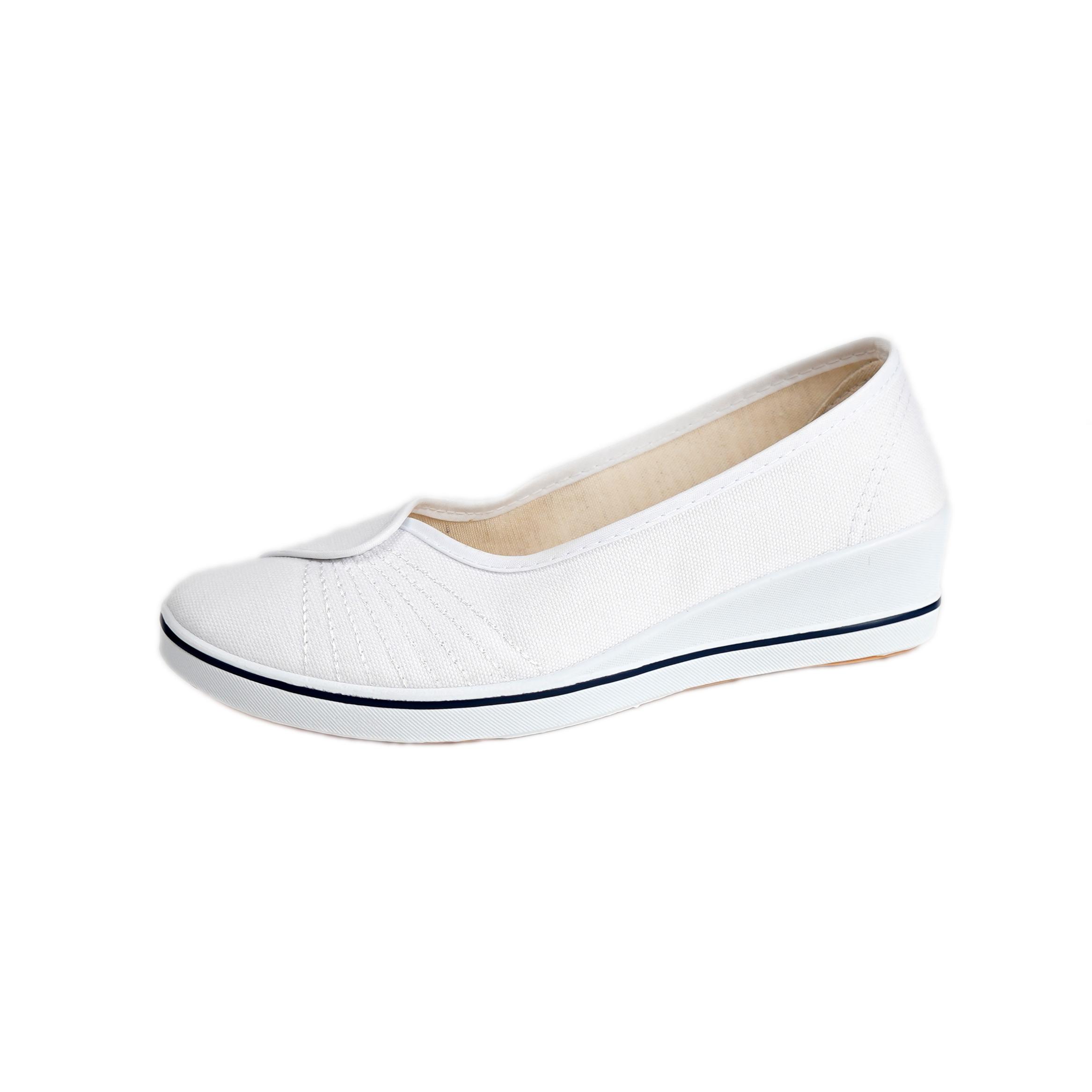 阿帅一字牌护士鞋女坡跟小白鞋白色防臭软底美容师工作鞋黑色布鞋