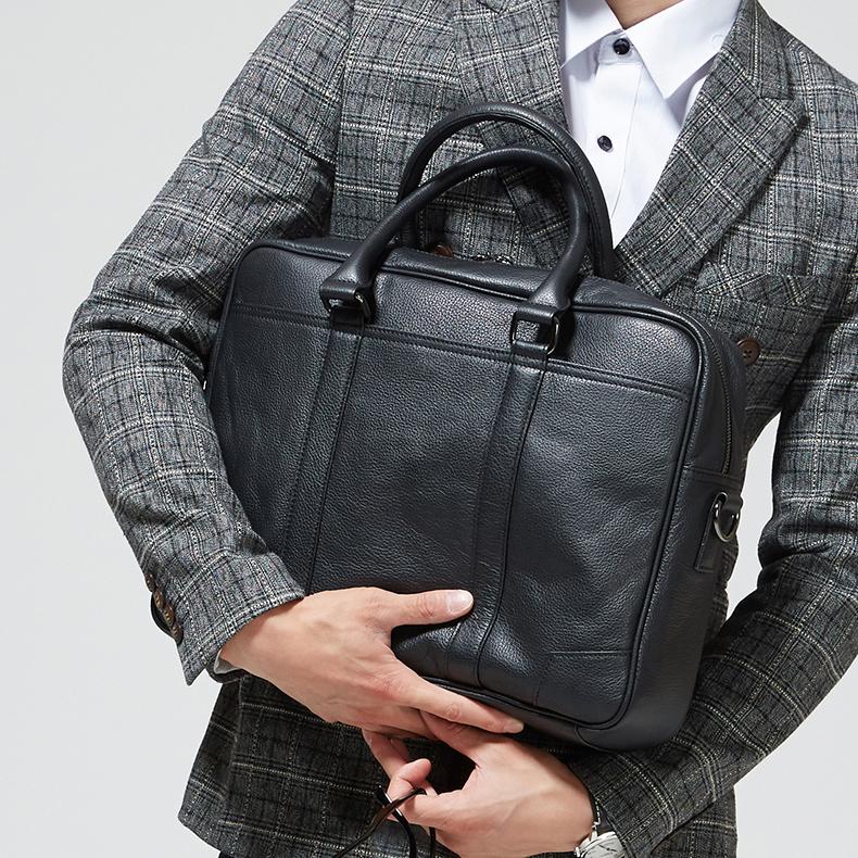 男包商务正品头层牛皮单肩斜跨包手提包男士复古电脑包横款公文包