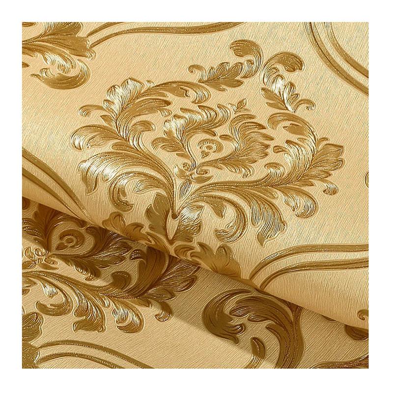 3D立体金色欧式大马士革壁纸防水温馨卧室客厅工程电视背景墙墙纸