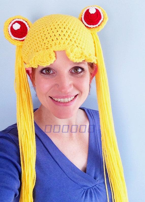 手工編織青春美少女戰士月野兔水冰月造型毛線帽女孩兒童假髮帽子