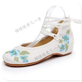汉服鞋子老北京布鞋女牛筋底中跟绣花鞋配汉服高跟复古中国风百搭