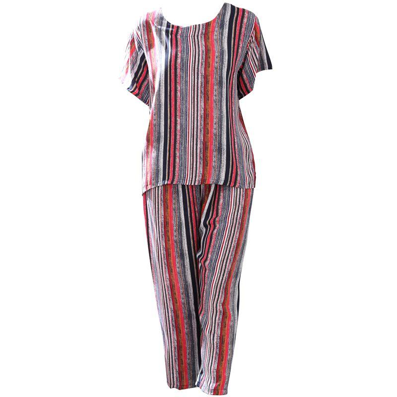 夏季短袖纯棉绸套装纯棉布加大码中老年睡衣女全棉布妈妈装家居服