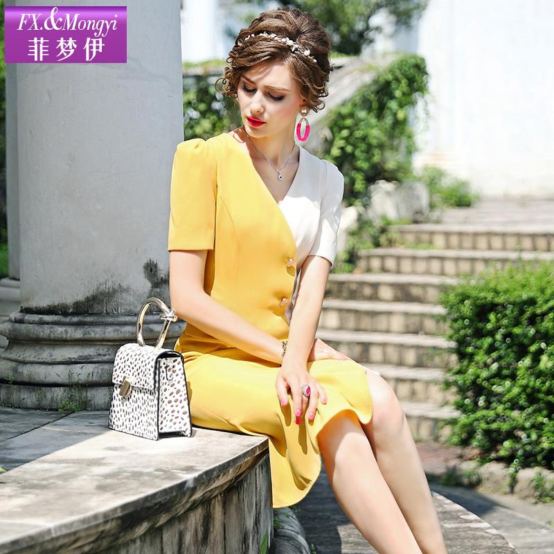 菲梦伊撞色拼接连衣裙女短袖夏装时尚气质通勤OL一步裙流行的裙子