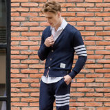 Handsome TB THOM spring and autumn Korean long-sleeved cardigan men and women couple knitted cotton sweater casual jacket