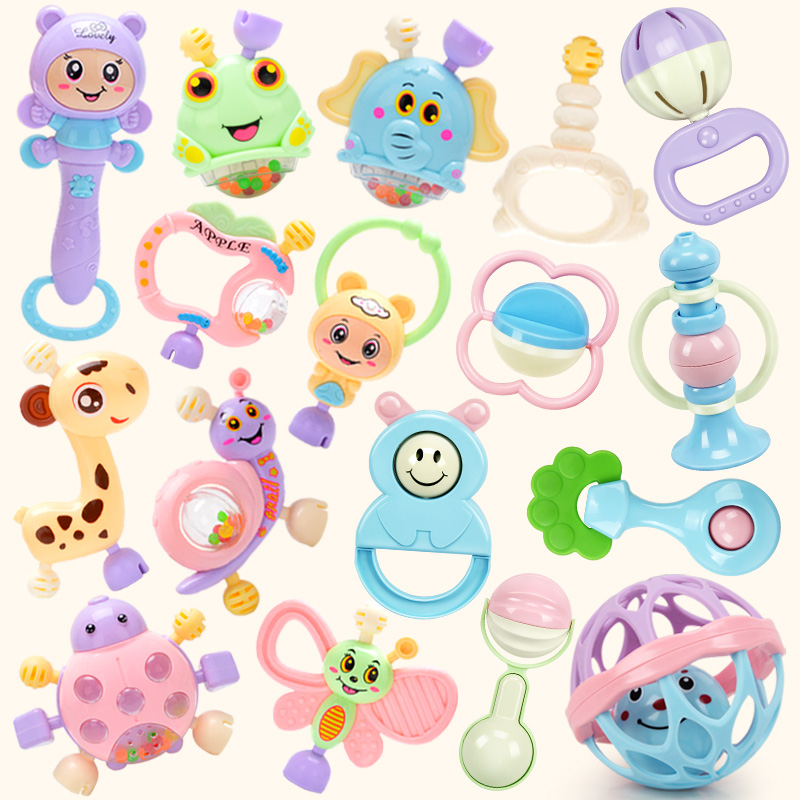 婴儿玩具0-1岁牙胶手摇铃 0-3-6-12个月男孩女孩新生宝宝磨牙玩具